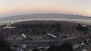 Timelapse video: Thousands crowd Copacabana beach to watch World Cup